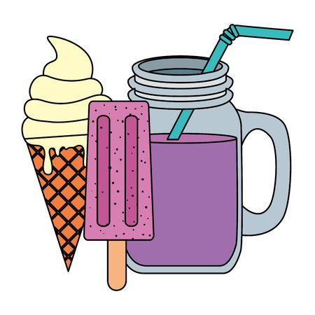 summer tropical cocktail and ice creams vector illustration design