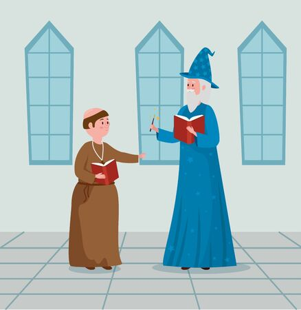 man monk and wizard with book and magic wand to tale character, vector illustration
