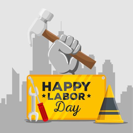 emblem of happy labor day celebration with wrench and screwdriver, vector illustration