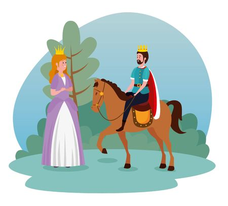 girl princess with crown and king riding horse to tale character, vector illustration
