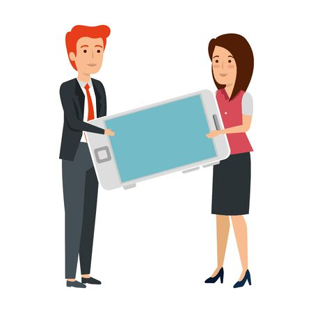 young business couple with smartphone vector illustration design