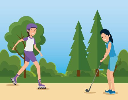 girls practice healthy fitness exercise to summer sport vector illustration