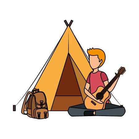 jeune homme, jouer guitare, à, tente camping, et, sac voyage, vecteur, illustration Vecteurs