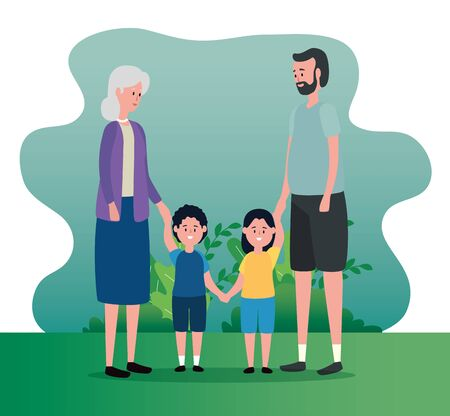 old woman and man couple with their grandson and granddaughter to family together, vector illustration