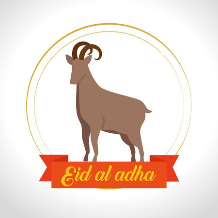 traditional deer sacrifice with ribbon design to eid al adha, vector illustration Ilustrace