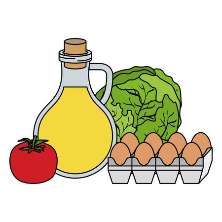 huile d'olive avec des oeufs et des légumes icônes d'aliments sains vector illustration design