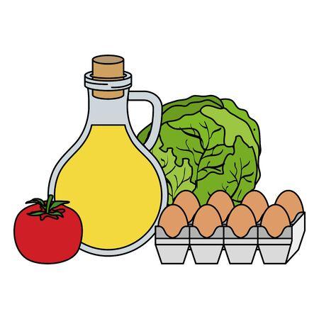 Oilve aceite con huevos y verduras iconos de alimentos saludables, diseño de ilustraciones vectoriales