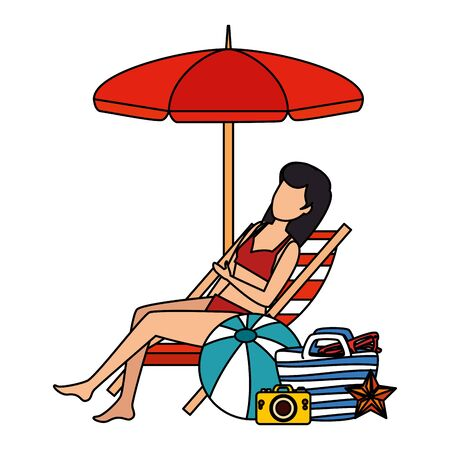 beautiful woman with swimsuit seated in beach chair and bag vector illustration