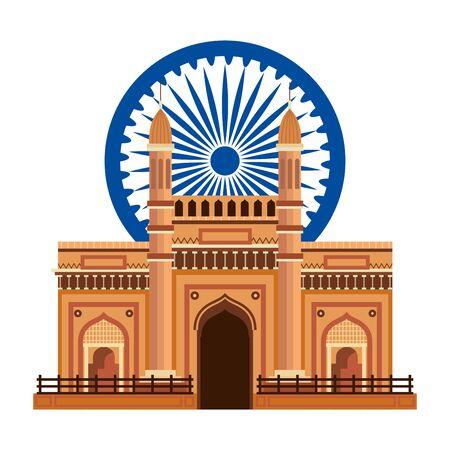 ashoka chakra with indian gate palace vector illustration design 일러스트