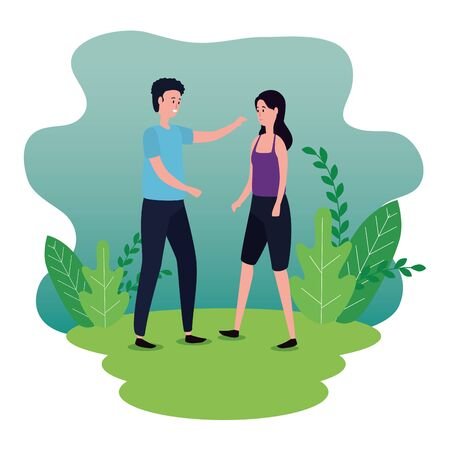woman and man couple in love with hairstyle and branches plants, vector illustration
