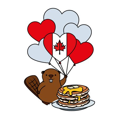 canadian balloons helium with sweet pancakes and beaver vector illustration design 일러스트