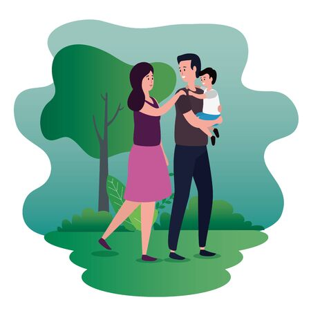 woman and man couple with their son and tree to family people, vector illustration