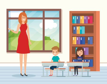 woman teacher in the classroom with kids and books to academic education vector illustration