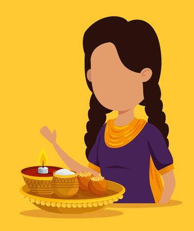 hindu girl with traditional food and candle to raksha bandhan, vector illustration Ilustração