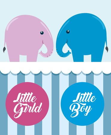 pink and blue elephants with little boy and girl labels to baby shower vector illustration