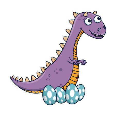 mother tyrannosaurus rex care of their eggs comic character vector illustration Иллюстрация