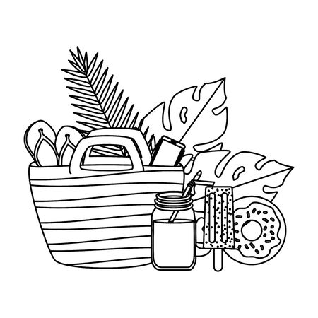 summer leafs plants with beach bag and set icons vector illustration design Stock Illustratie
