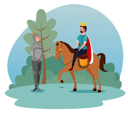 man king riding royal horse and army with shield and sword to tale character, vector illustration  イラスト・ベクター素材