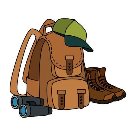 camping travel bag with equipment vector illustration design  イラスト・ベクター素材