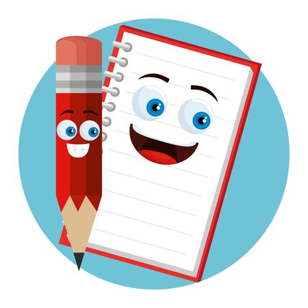 happy notebook and pencil supplies to back to school vector illustration