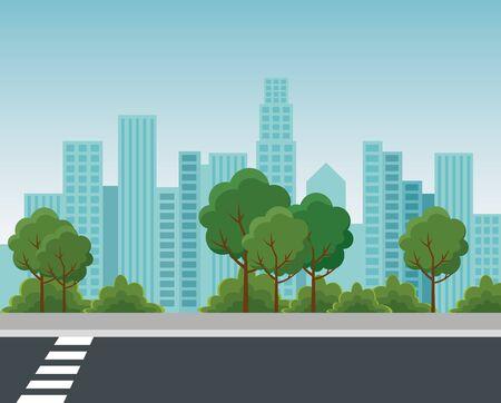 parc avec des plantes d'arbres et de buissons avec la construction de paysage urbain à l'illustration vectorielle de détente urbaine Vecteurs