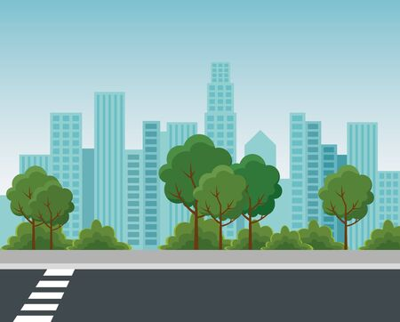 park with trees and bushes plants with building cityscape to urban relaxation vector illustration Stock Illustratie