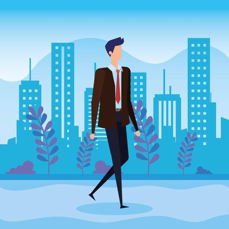 businessman with elegant clothes and plants with bushes to office success, vector illustration