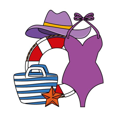 float with swimsuit female and summer icons vector illustration design
