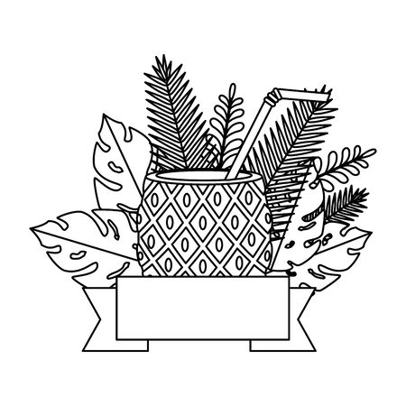 summer frame with tropical pineapple cocktail and leafs plants vector illustration  イラスト・ベクター素材