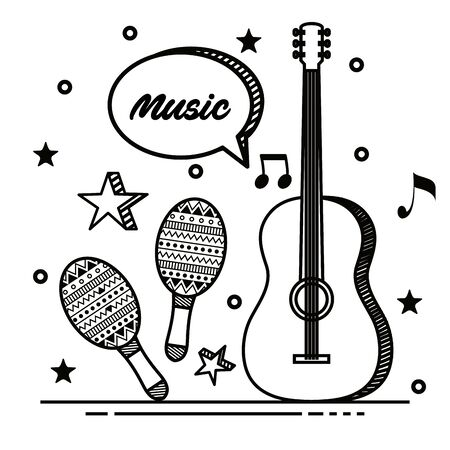 guitar with maracas instrument and stars with chat bubble to music style vector illustration