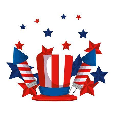 fireworks rockets with tophat usa flag vector illustration design