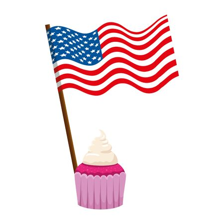 united states of america flag with cupcake vector illustration design