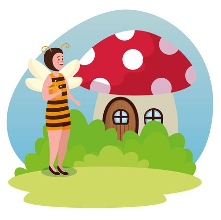 girl bee fairy with fungus house and bushes to tale character, vector illustration  イラスト・ベクター素材