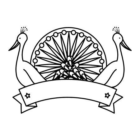 ashoka chakra indian with peacocks birds vector illustration design 일러스트