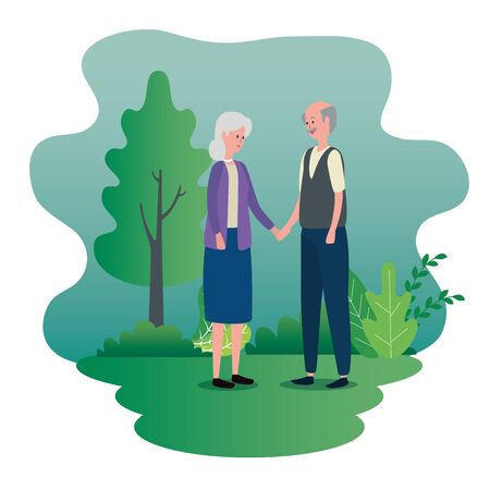 old woman and man couple with casual clothes and tree and bushes plants, vector illustration Ilustrace