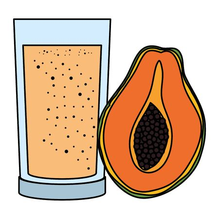 papaya juice fruit with glass vector illustration design Иллюстрация