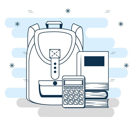 outline backpack with books and calculator to back to school vector illustration  イラスト・ベクター素材