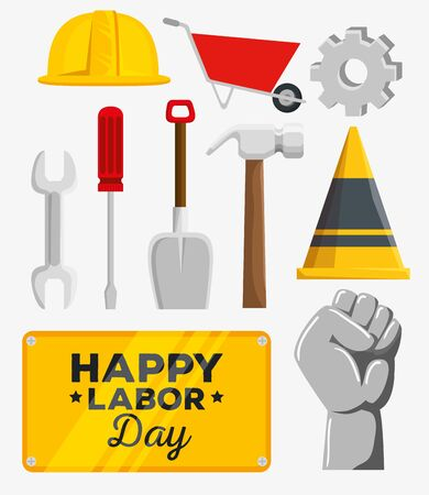 set of labor day celebration and decoration over white background, vector illustration Ilustração