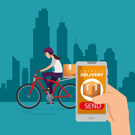hand with smartphone and woman in the bicycle with box to delivery service vector illustration Ilustrace