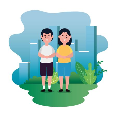 pretty girl and boy children with casual clothes and bushes plants, vector illustration