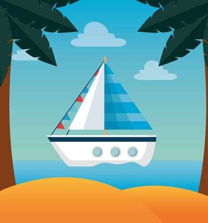 tropical beach with ship and palms trees in the sand to summer time vector illustration