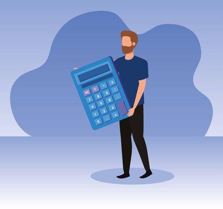 businessman with finance calculator data report over purple background, vector illustration Standard-Bild - 129791183