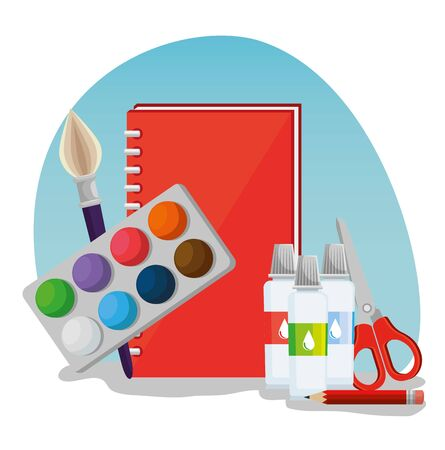watercolors with notebook and brush paint with scissors supplies to back to school vector illustration Çizim