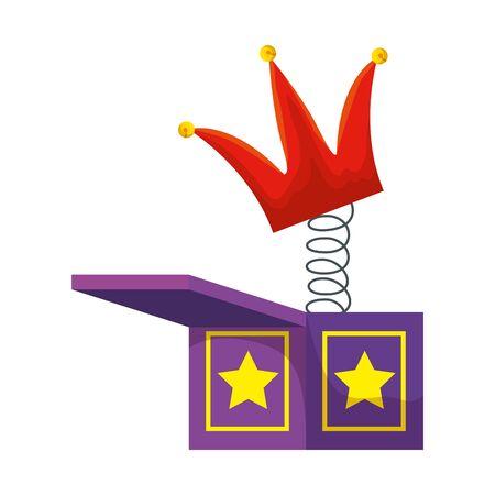 jester hat in surprise box fools day icon vector illustration design Ilustrace