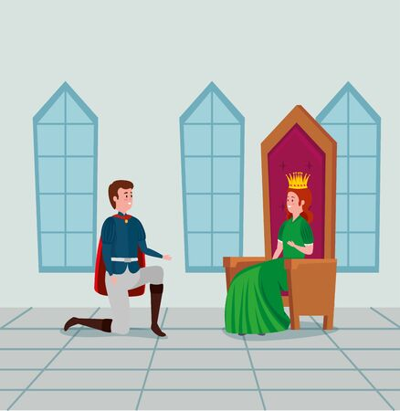 woman queen sitting in the chair and boy prince in the castle to tale character, vector illustration