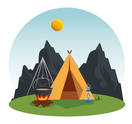 wanderlust adventure with camp and firewood food vector illustration  イラスト・ベクター素材