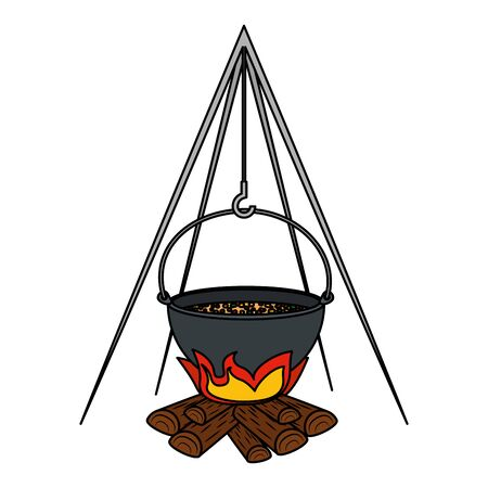 wood fire with pot cooking vector illustration design