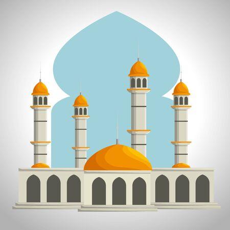 arabic castle architecture traditional celebration to eid al adha, vector illustration