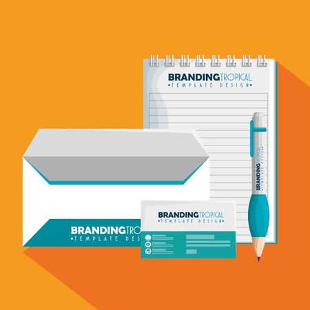 notebook with envelope and brandig card with pen vector illustration Stock Illustratie