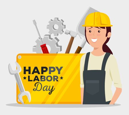 woman builder with emblem and screwdriver with gears to labor day, vector illustration Illusztráció